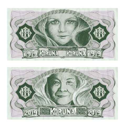 Výroční bankovka ke 100 letům české měny - bitmapová kresba vAdobe Photoshop