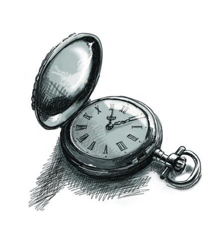 Kapesní hodinky - bitmapová kresba vAdobe Photoshop